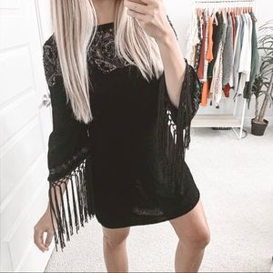 Zara Velvet Fringe Embroidered Dress Black